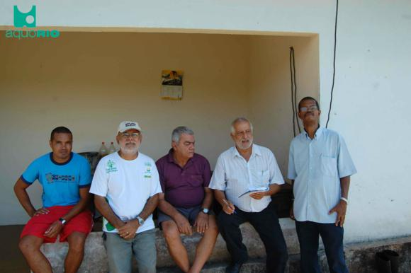 Adalto (produtor rural), Edison Cruz (Emater), Ney (criador de bettas), Dr. Aluisio (Secretario de Agricultura) e Wilson Vianna (presidente da AQUORIO)